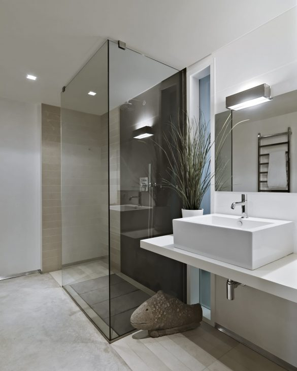 interior shots of a modern bathroom in foreground the countertop washbasin and the glass shower box