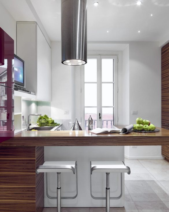 interior view of a modern kitchen with stool