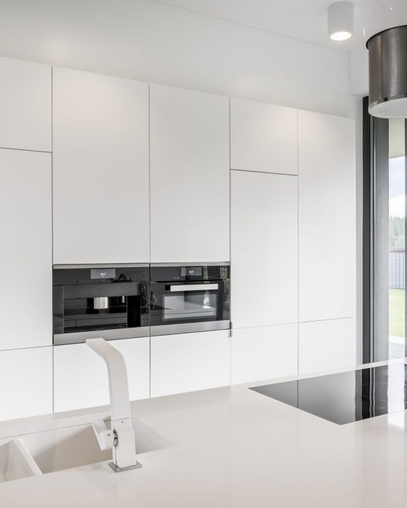 Minimalistic kitchen interior with snowy-white tabletop