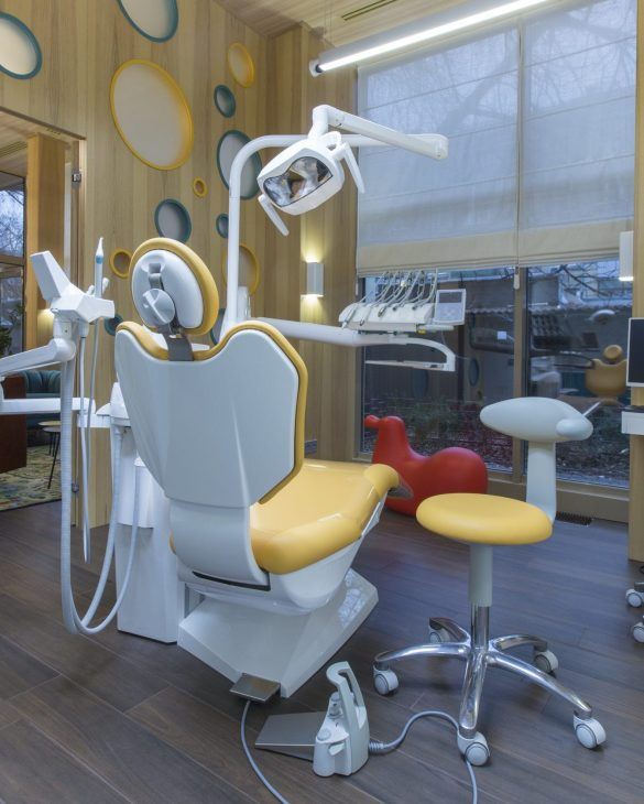 Modern office of children tooth doctor, creative interior with no people, copy space